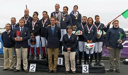 On the podium for the European and Open Team category at the FEI Open European Endurance Championships 2013 in Most (CZE) are: (L to R) silver medallists from Spain, gold medallists from France and bronze medallists from Italy. (Photo: Gilly Wheeler/FEI/FEI).