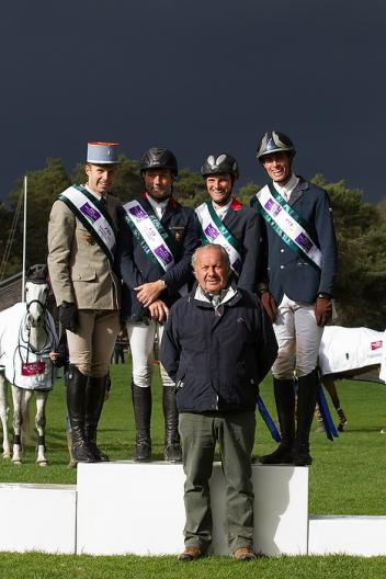 (left to right) France's Donatien Schauly, Eric Vigeanel, Nicolas Touzaint and Maxime Livio with Chef d'Equipe Thierry Touzaint (centre) dominated the opening leg of FEI Nations Cup™ Eventing 2014 at Fontainebleau (FRA). Photo: Eric Knoll/FEI.