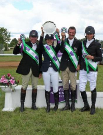 The winning New Zealand team at Houghton International, fourth leg of the FEI Nations Cup™ 2014 (left right): Craig Nicolai, Lizzie Brown, Sir Mark Todd and Tim Price (Photo: Fiona Scott-Maxwell/FEI).