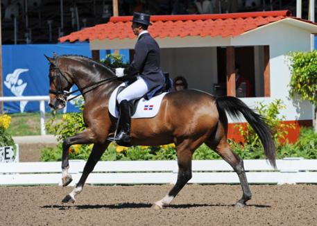 Dr. George Fernandez on Bravo, a 15-year-old, 16.1 hand, bay Holsteiner gelding by Linaro, owned by Elaine Sherer. (photo: Diana de Rosa)