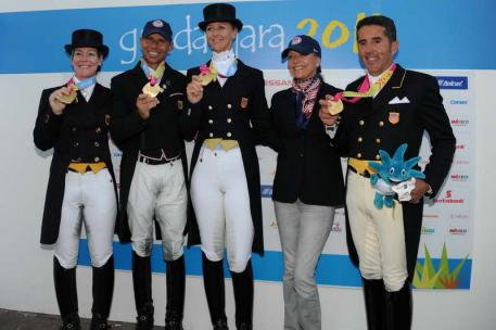 Dressage Team USA Gold  - Marisa Festerling, at the 2011 Pan American Games - Steffen Peters, Healther Blitz, Anne Gribbons, and Cesar Parra, (Photo: Diana de Rosa)