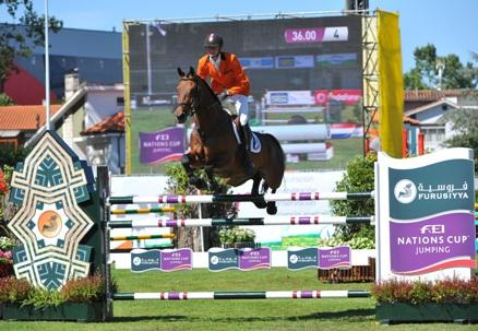 Frank Schuttert and Winchester HS produced an all-important second-round clear to help secure victory for The Netherlands at the penultimate Furusiyya FEI Nations Cup™ Europe Division 2 qualifier in Gijon, Spain today.  Photo: FEI/Herve Bonnaud.