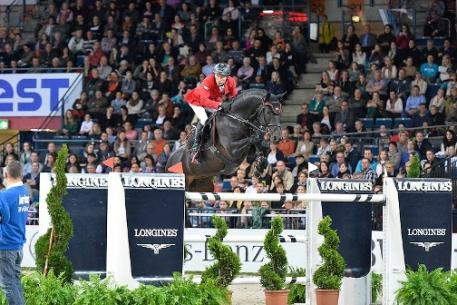 Germany's Hans-Dieter Dreher and Embassy ll won the fourth leg of the Longines FEI World Cup™ Jumping Western European League series at Stuttgart, Germany today.  Photo: FEI/Karl-Heinz Frieler.