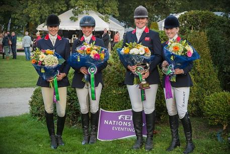 Great Britain won the penultimate leg of FEI Nations Cup™ Eventing in Waregem (BEL) after sending a new all-female quartet (left to right): Sarah Bullimore (Reve du Rouet), Izzy Taylor (Orlando), Lucy Wiegersma (Simon Porloe) and Laura Collett (Allora 3).