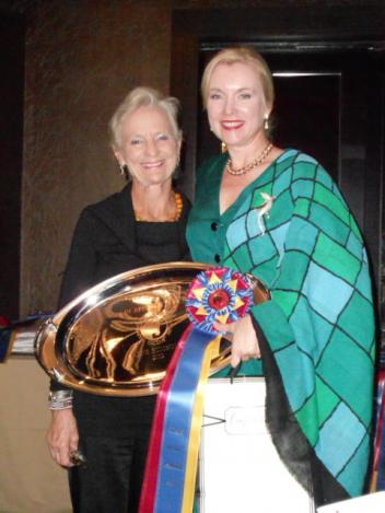 Janne Rumbough, a very successful GCDA competitor and long time supporter of the association, was presented with an elegant engraved tray by GCDA's Ann Hart. (Photo: John Flanagan)