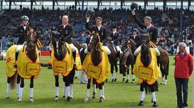 Germany wins FEI Nations Cup™ Eventing in Aachen (left to right): Sandra Auffarth, Michael Jung, Dirk Schrade, Andreas Dibowski with Chef d'Equipe Hans Melzer. (Photo: Kit Houghton/FEI).