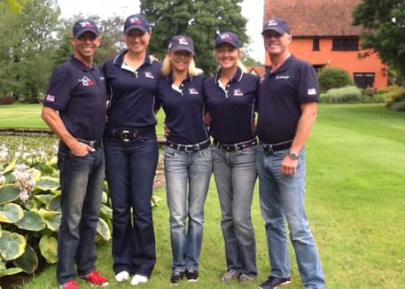 United States 2012 Olympic Dressage Team prepare for London. Steffen Peters, Adrienne Lyle, Anne Gribbons, Tina Konyot and Jan Ebeling.