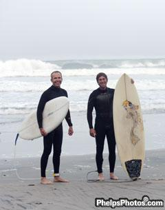 San Diegans Guenter Seidel and David Blake add surfing to their training regime as they prepare for the Rancho Valencia Dressage Affaire 2012