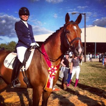 Gwen Poulin (DeLeon Springs, Florida) and her young horse, Fluery's Fanfare Photographer: coach and mom, Sharon Poulin