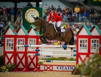 Canadian Olympians Hawley Bennett-Awad and Gin & Juice were one of only four pairs to put in a faultless show jumping performance at the prestigious CCI 4* Rolex Kentucky Three-Day Event.Photo by Shannon Brinkman.