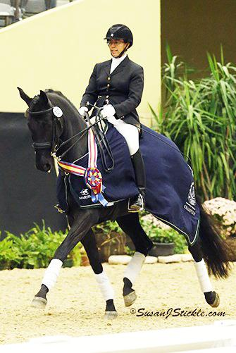 Heather Mason of Tewksbury, NJ is off to a winning start at the US Dressage Finals presented by Adequan®.  Photo: SusanJStickle.com