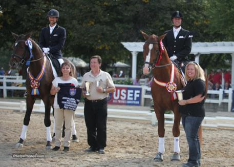Left to Right. Michael Bragdell on Hemmingway, Owners Theresa Schnnell and Bob Jackson, Chris Hickey on Oredit Hiltop, and Natalie DiBerardinis is General Manager of Hilltop. The two stallions win Champion and reserve at the 2012 Markel/USEF National Young Horse Championship for 4-year-olds