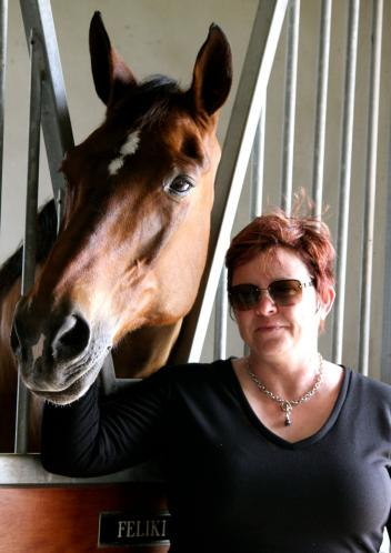 New York Times Bestselling author with one of her dressage partners, Feliki