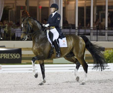 Ashley Holzer of Toronto, ON and  Breaking Dawn earned top scores at Global Dressage Festival CDI 5* Wellington [Photo: Cealy Tetley, www.tetleyphoto.com]