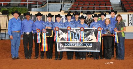 2013 IEA Upper School Champion Team: Dare Equestrian-Hilliard, Ohio-L to R:  (front row) Myron Leff (IEA), Sean Sullivan, Eddie Clark, Andrea Crickard, Lily Johns, Mallory Baker, Morgan Ocock, Samantha Scott, Linda Dare (coach), Roxane Lawrence (IEA); (back row) Kimmy Hartman, Ashley Reichert, Megan Ashbrook, Ben Beckett. Waltenberry Photography