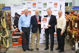 (Pictured left to right) Brad Camp, IFA vice president of marketing, Cam McKenzie, Alltech Idaho regional manager, Layne Anderson, CEO, IFA, and Dennis Christensen, IFA category manager, at the launch of IFA as an official partner for the Alltech Official FEI World Equestrian Games™ 2014 in Normandy.