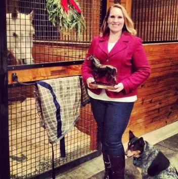 Amanda with Louie Louie, her dog Molly and her AAEVT Member of the Year Trophy (Photo Courtesy of Amanda Compton)