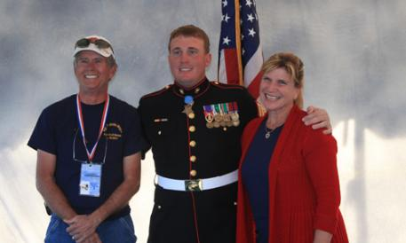JJ Hathaway, Medal of Honor recipient Sgt Dakota Meyer, and Mary Phelps-Hathaway