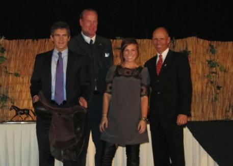 From left to right, Cary Wallace, Graham Newell, Amelia Child, and Steffen Peters.  Dressage rider Amelia Child was on cloud nine at the USDF Convention in San Diego when she won a custom dressage saddle from Custom Saddlery. Child was the final winner in Custom Saddlery's All American Saddle Fit Challenge, which gave away five custom dressage saddles during the year.