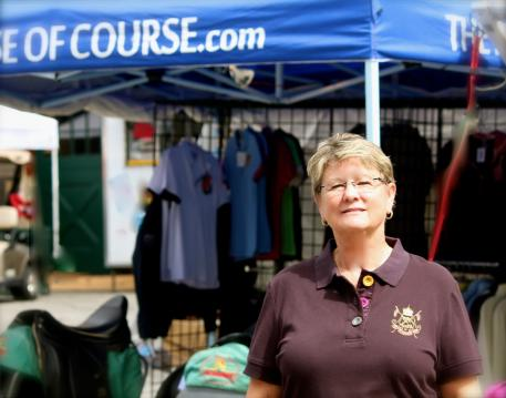 Beth Haist of The Horse of Course, Inc. in front of the mobile store. The Horse of Course, Inc. is proud to demonstrate its dedication to the equestrian sport communities through support of the GAIG/USDF 2012 Region 1 Dressage Championships and NCDCTA Harvest Moon Dressage shows, November 1-4.