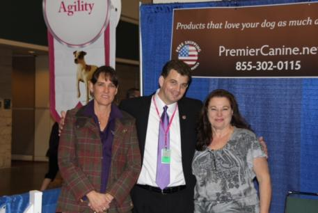 Photo: From left to right, Premier Equestrian's Heidi Zorn, Jason Taylor of Eukanuba, and Shirley Zorn of Premier Canine at the AKC/Eukanuba National Championships held in Orlando, Florida.