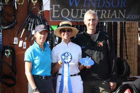 "Dressage rider and trainer Carmen Franco (center) won the ""Windsor Award"" during the Gold Coast Dressage Opener CDI, and was presented the award by Mette Larsen (left), and Charles Tota (right)."