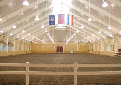 The indoor arena a the beautiful Pineland Farms