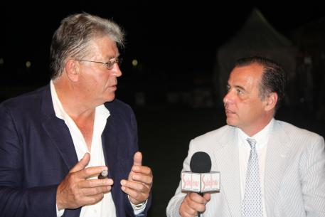 Peter van Borst and Sidelines TV host and producer, Rob Jordan, during an interview with the North American sales director for the largest Lusitano farm in the world, Interagro Lusitanos, during his visit to Florida for the Wellington CDI3* Nations Cup.