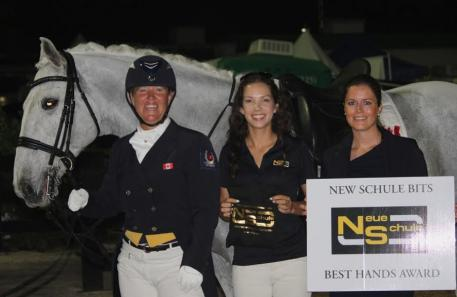 From left to right, Jacqueline Brooks, Chase Hickok of Neue Schule, and Cora Causemann.