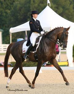 Jaimie Holland, 21, of Caledon, ON, riding Fleurina, won the Young Rider Freestyle at 2010 NAJYRC (Photo SusanJStickle.com)