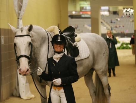 Janne Rumbough and Junior at the 2013 US Dressage Finals  Photo: DressageDaily
