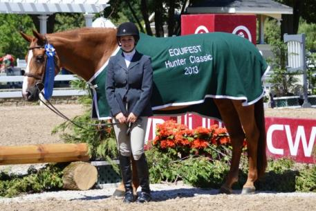 Jenna Selati and Fidelia claimed the blue in the ,000 Junior Hunter Classic at Equifest II. Photo Credit: Brenda Mueller.