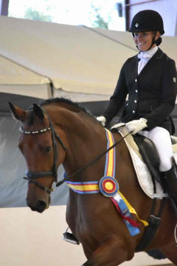 """Rachel Wade and """"Cambria"""" won  the CDS Horse of the Year title for Open Training Level on the final day of competition at the CDS Championship Show.  Photo: Jennifer M. Keeler"""