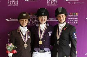 Junior Dressage Individual Medalists from left: Rison Naness (Reg 7), Bronze; Lindsey Hollegar (Reg 3), Gold; and Naima Moreira Laliberte (Quebec, CAN) SIlver (SusanJStickle.com)
