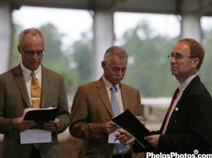 FEI Dressage Committee Director, Trond Asmyr, Stephen Clarke, and Bo Jenna judging at the Wellington Classic Dressage CDI