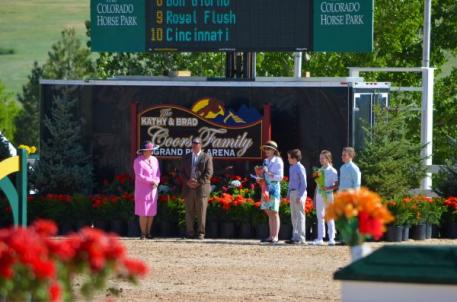 Helen Krieble and the Coors Family chirstened the new Kathy and Brad Coors Family Grand Prix Arena.