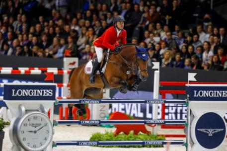 The USA's Kent Farrington and Voyeur galloped to a thrilling victory in the second leg of the Longines FEI World Cup™ Jumping Final 2013/2014 at Lyon, France tonight.  Photo: FEI/Dirk Caremans.