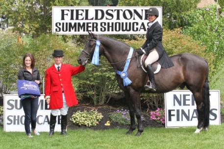 "Kristen Bumpus and Inspired captured the ,000 NEHJA 2'9"" Hunter Derby Finals at the Fieldstone Summer Showcase II. Photograph By: Kendall Bierer/PMG."