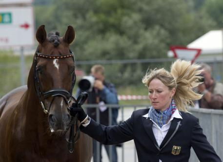 Pictured at the First Horse Inspection for the Blu Hors FEI European Dressage Championship in Herning, Denmark today were reigning Reem Acra FEI World Cup™ Dressage title-holders Helen Langehanenberg and Damon Hill from Germany. (Photo: FEI/Kit Houghton.)