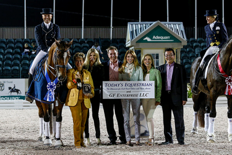 Lars Petersen and Mariett with judge Janet Foy, Ashley Holzer of Today's Equestrian, Allyn Mann of Adequan, Meg Krueger of Equestrian Sport Productions, Dr. Diane Fellows of GF Enterprise LLC, and Hiroto Kashiwase of Adequan Photo: SusanJStickle