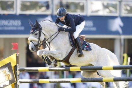 Laura Kraut and Cherry Knoll Farm's Cedric represented the U.S. Team riding in the CHIO Rotterdam'sFurusiyya FEI Nations Cup June 21, 2013. Photo © GCT.