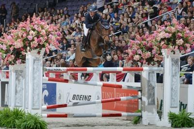 Lauren Hough and Ohlala competing in front of a full house at the 2012 WIHS. Photo © Shawn McMillen Photography