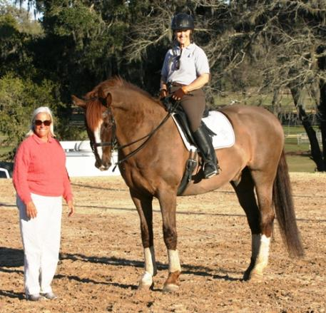 Linda Zang, Leslie McDonald and Dauntless enjoy a training break in sunny Ocala morning.