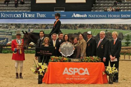 Lillie Keenan wins the 2013 ASPCA Alfred B. Maclay Championship, presented by C.M. Hadfield's Saddlery, at the Alltech National Horse Show. Photos By: Shawn McMillen Photography and Rebecca Walton.