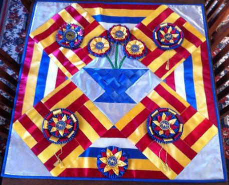 Lisa Van Stratten made a Ribbon Quilt for a Silent Auction at the Nebraska Dressage Association's Year End Awards Banquet  Photo: Lisa Van Stratten