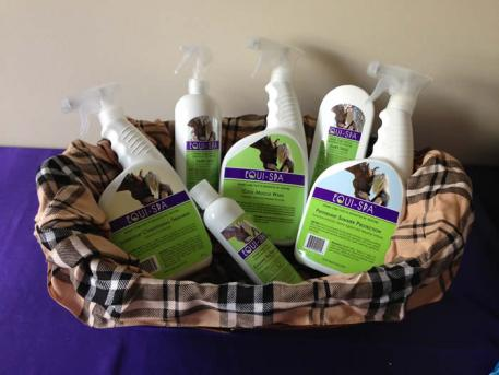 Basket of products for a weekend dressage show raffle  Photo: Lisa Van Stratten
