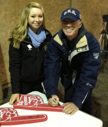 Dallas Van Stratten and Jan Ebeling - autographing foam fingers for fundraising  Photo: Lisa Van Stratten