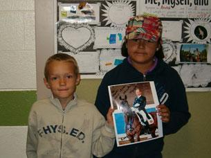 Two of Magic's fans from Elk Creek Elementary School in Newcastle, Colorado
