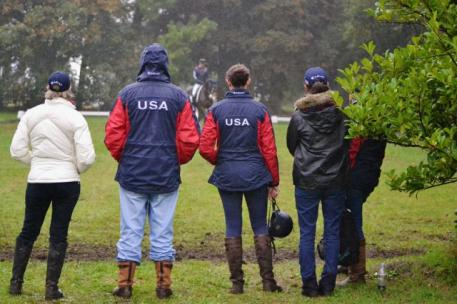 Selector Marcia Kulak, left, braves the cold wind and rain last year at Boekelo. Photo by Jenni Autry.