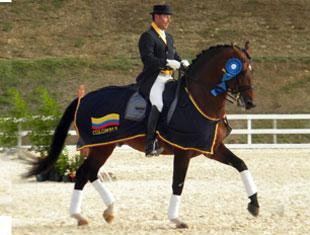 Colombian dressage rider Marco Bernal and Farewell IV took double gold at the Central American and Caribbean Games in Puerto Rico. (Photo courtesy of Marco Bernal International Dressage)